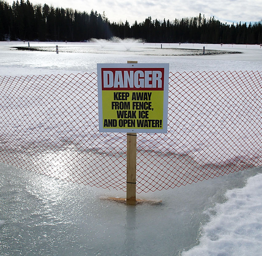 Aeration Warning Sign and Fencing on Lake